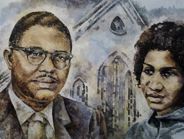 "Rev. C.L.Franklin and Aretha Franklin, from ""Detroit Portrait Series: Black Bottom and Paradise Alley"" by Nicole MacDonald"