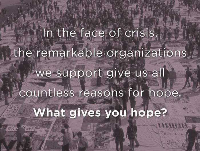 Organizations we work with give us #ReasonsForHope