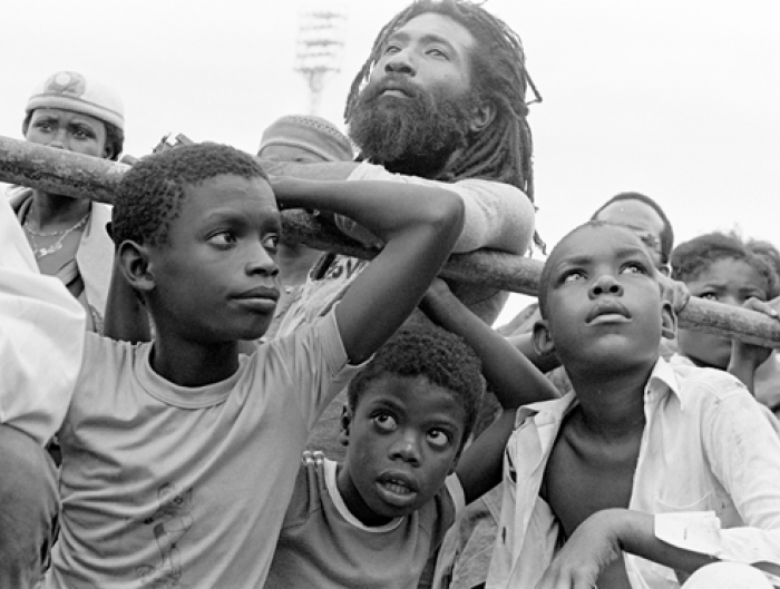 Audience members at Jamaica's Reggae Sunsplash festival in 1982.