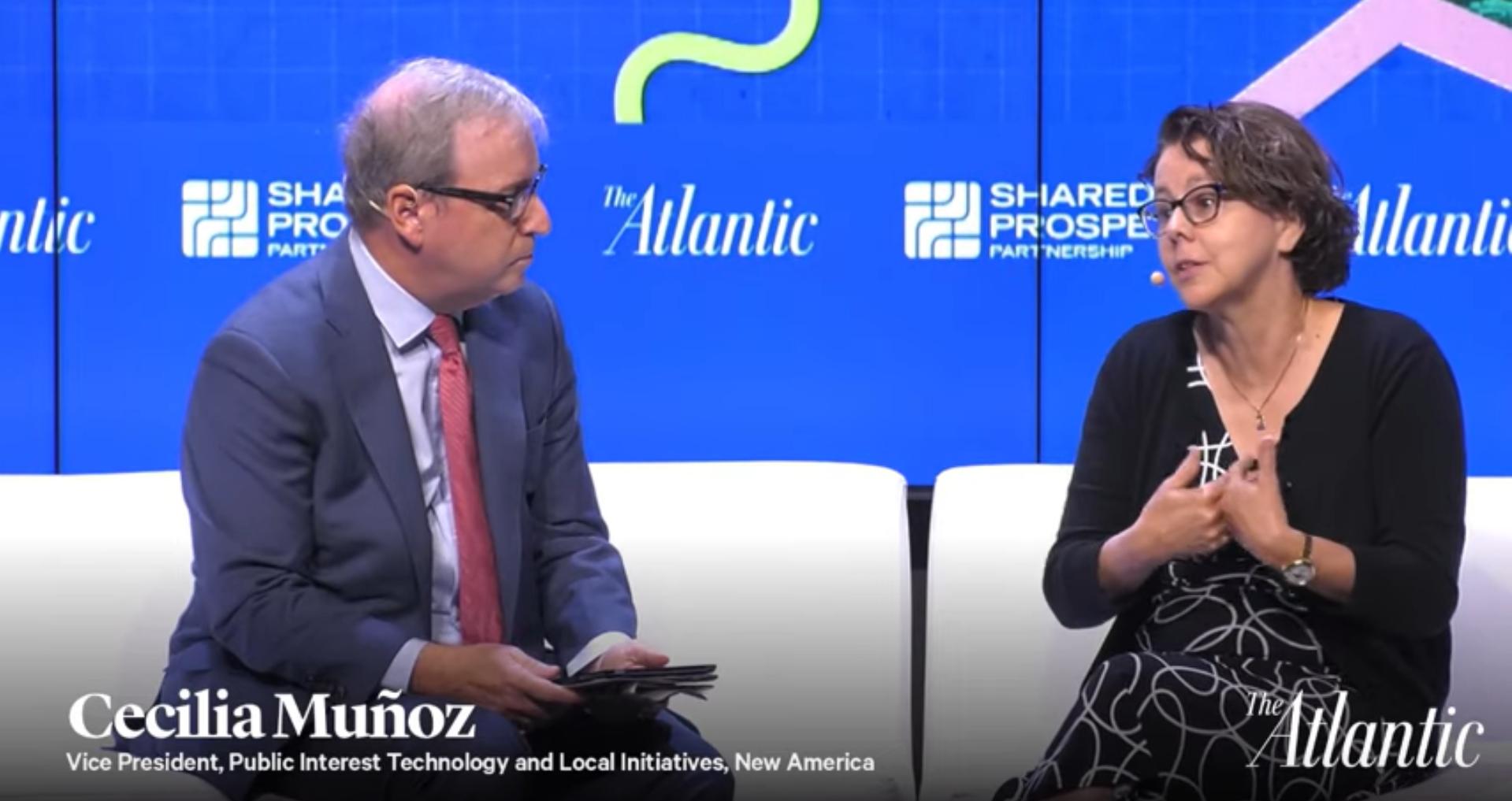 Cecilia Muñoz, Kresge board member with the Atlantic's Senior Editor Ron Brownstein