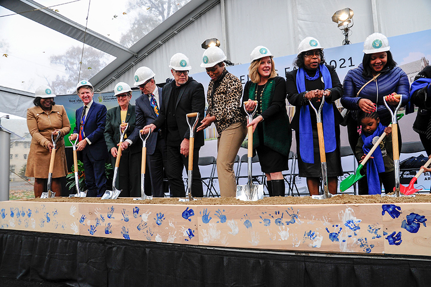 P-20 partners, construction and design team join students and parents from Starfish Family Services to break ground on a $15 million early childhood center on the Marygrove College campus.