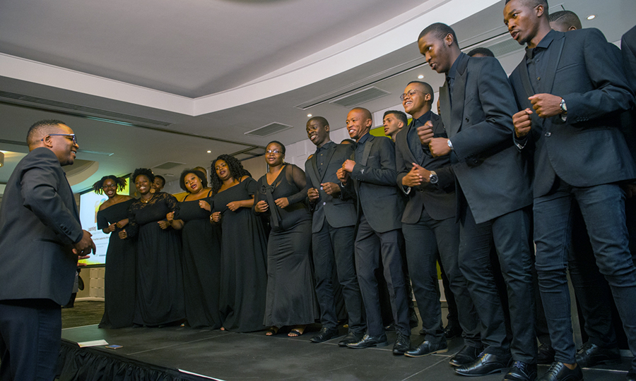 Students from the University of the Western Cape's Creative Arts Choir perform at the 2019 Inyathelo Leadership Retreat.