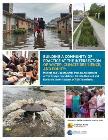 """Cover of report """"Building a Community of Practice at the Intersection of Water, Climate Resilience and Equity"""""""