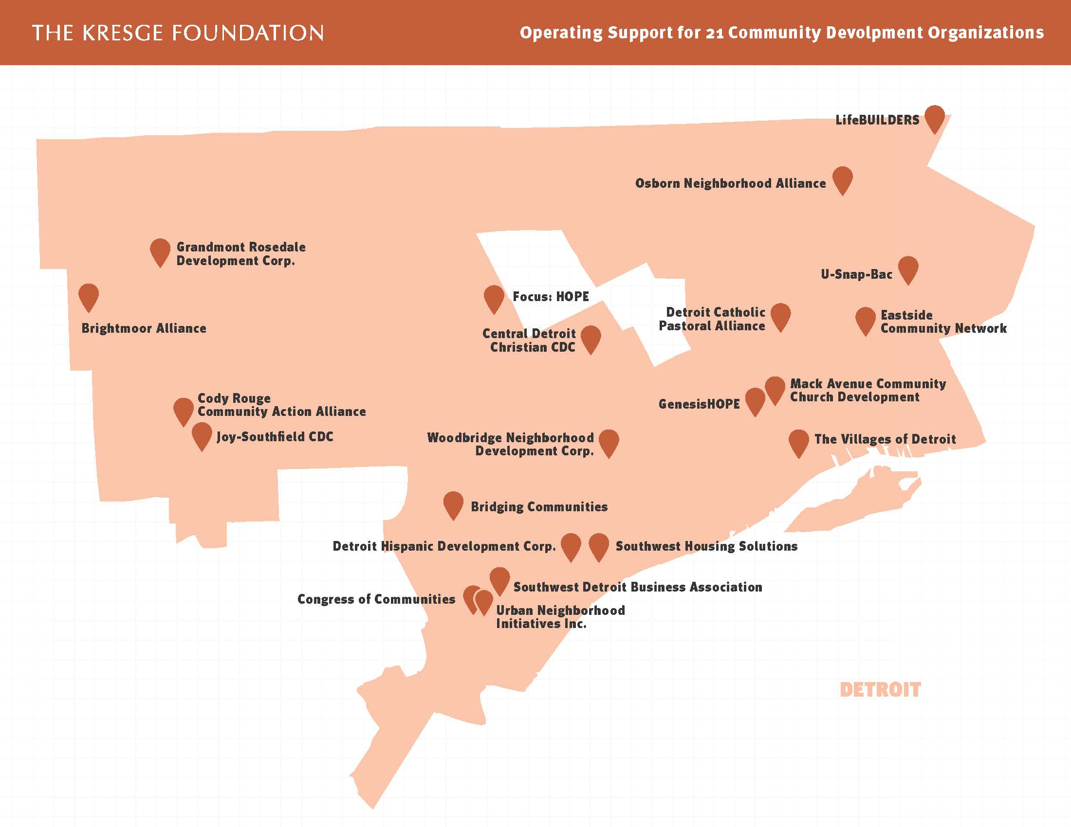 Map showing sites of 21 Detroit community development organizations receiving Kresge operating supports