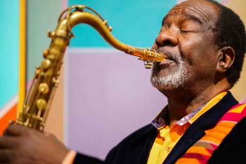 Wendell Harrison blowing his tenor saxophone.
