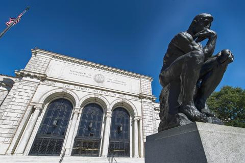 Rodin's The Thinker outside of the Detroit Institute of Arts