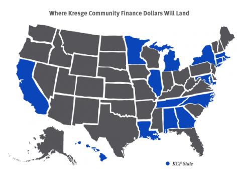 States where the latest Kresge Community Finance grants will fund work