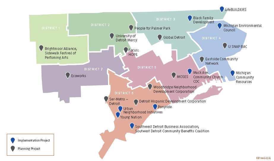 Kresge Innovative Projects: Detroit grants mapped by City Council district