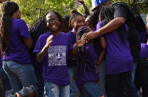 Detroit Youth Choir, hugs and cheers
