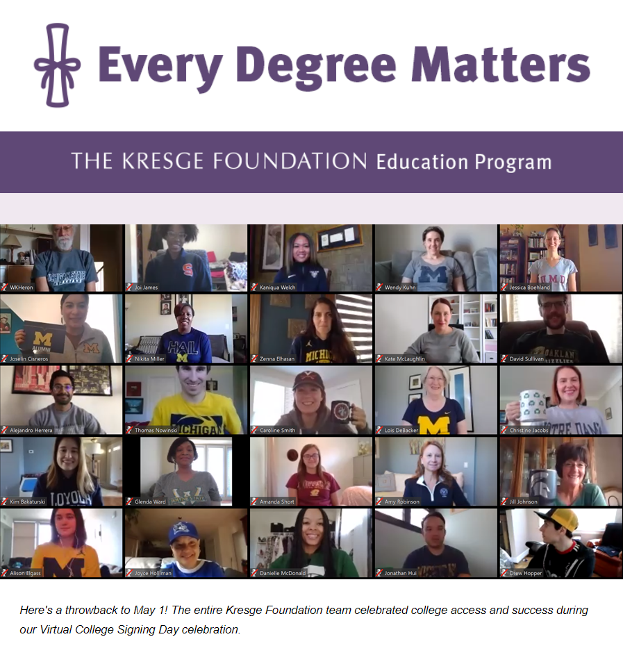Screenshot of August edition of Every Degree Matters
