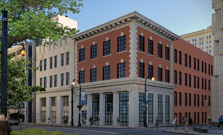 A rendering of the exterior of the Georgia State University's National Institute for Student Success. It is three-story building on the corner of a street with tall windows on the first floor.