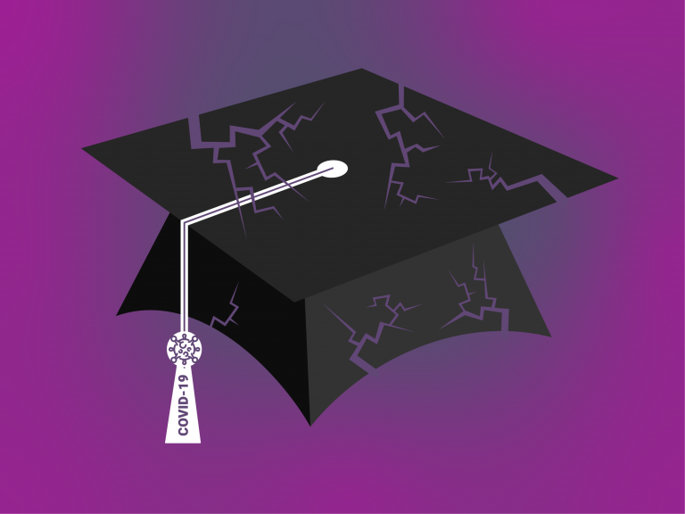 Purple background with a graduation cap that is cracked and broken. The tassel has a charm on it that reads COVID-19.