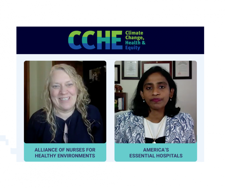 The image shows a blue bar at the top of the photo with the CCHE logo, which is the letters C, C, H and E, with the text Climate Change, Health & Equity vertically stacked on the right. Below is a screen shot of two video clips side by side. The video on the left shows a woman that appears to be of Indian descent in an office with a bookshelf in the background. The video on the right shows a white woman with a bookshelf in the background.