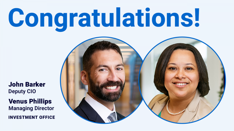 On a light blue background there is a head shot of John Barker on the left and a head shot of Venus Phillips on the right. The text reads: Congratulations! John Barker, Deputy CIO, Investment Office. Venus Phillips, Managing Director, Investment Office.
