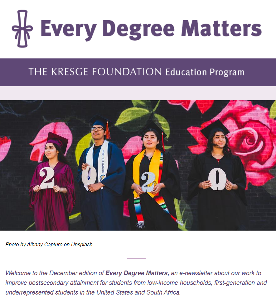 Screenshot of December issue of Every Degree Matters