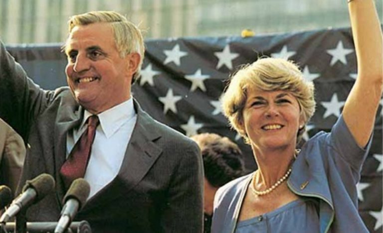 US. presidential candidate Walter Mondale and vice-presidential candidate Geraldine Ferraro photographed while campaigning at political rally at Fort Lauderdale, Florida. April 27, 1984.