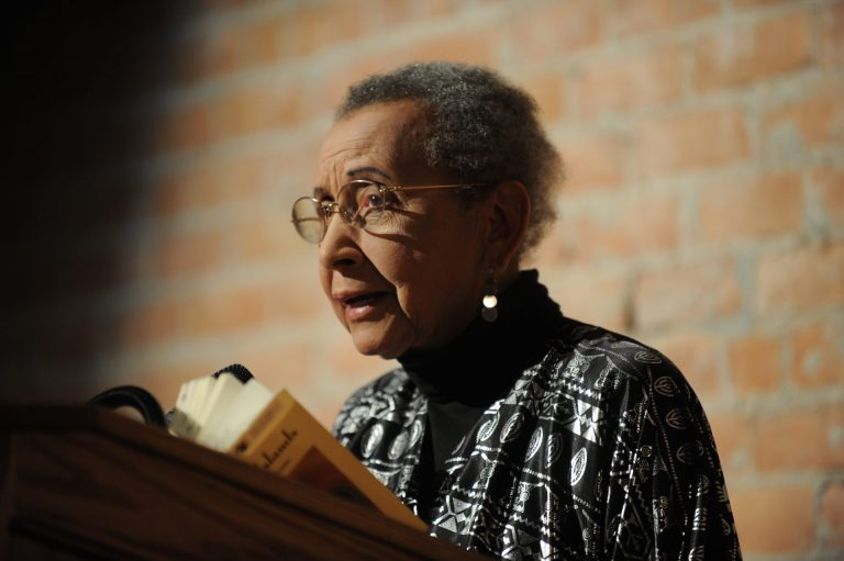 Naomi Long Madgett, Kresge's 2012 Eminent Artist, reads from her poetry at an event that year in her honor