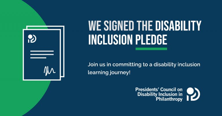"""Join us in committing to a disability inclusion learning journey."""" Accompanying the text is an illustration of a signed document. At the bottom is the Presidents' Council On Disability Inclusion in Philanthropy logo, with bold text right justified and stacked in three lines."""