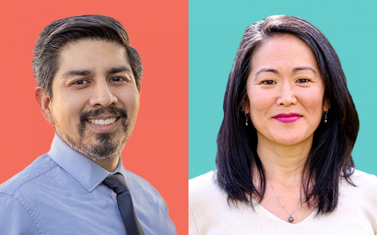 Composite photo of Kresge's two strategic learning and evaluation officers: Arturo Garcia (left) and Dr. Chikako Yamauchi.