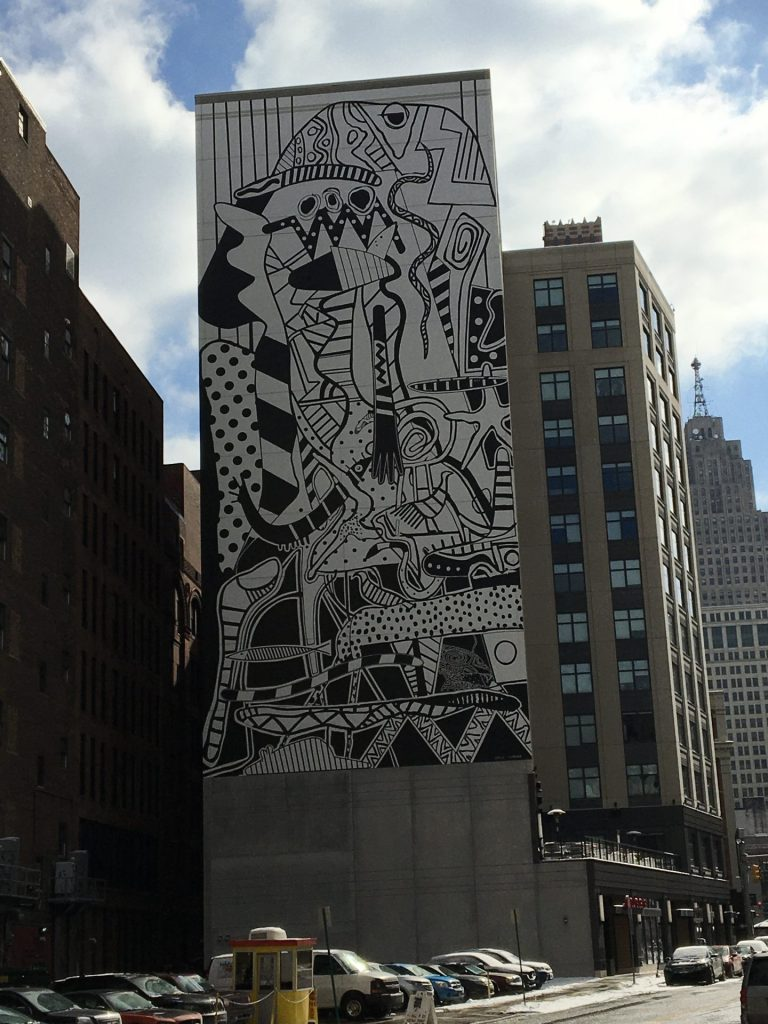 "Charles McGee mural: ""Unity,"" 28 West Grand River Avenue, Detroit."