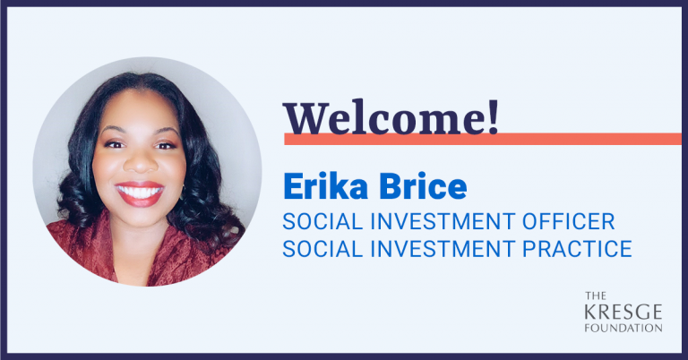 Welcome graphic that features a head shot of Erika Brice and lists her name and title, Social Investment Officer on the Social Investment Practice