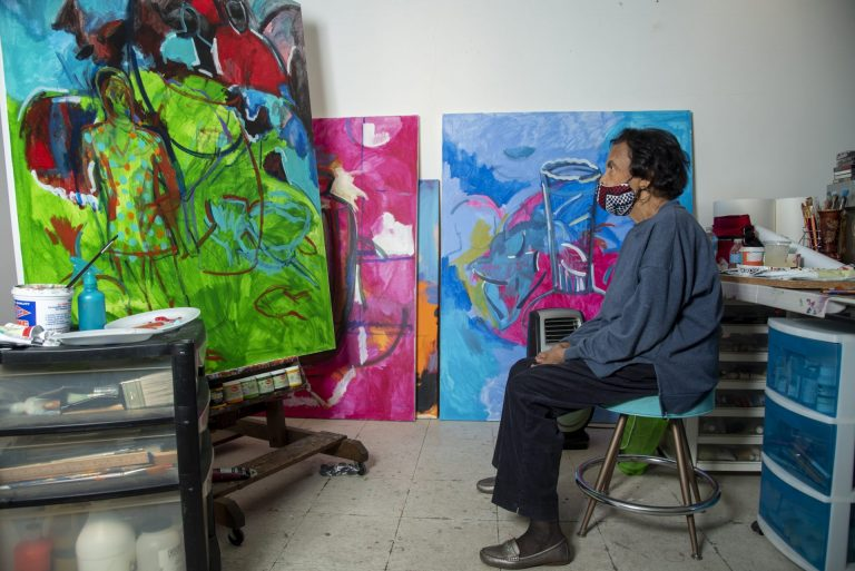Shirley Woodson working in her Detroit studio.