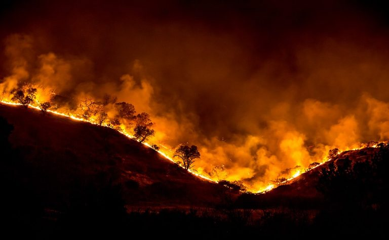 A tree ridge in flames with smoke billowing into the air during the 2018 Woolsey Fire in California.