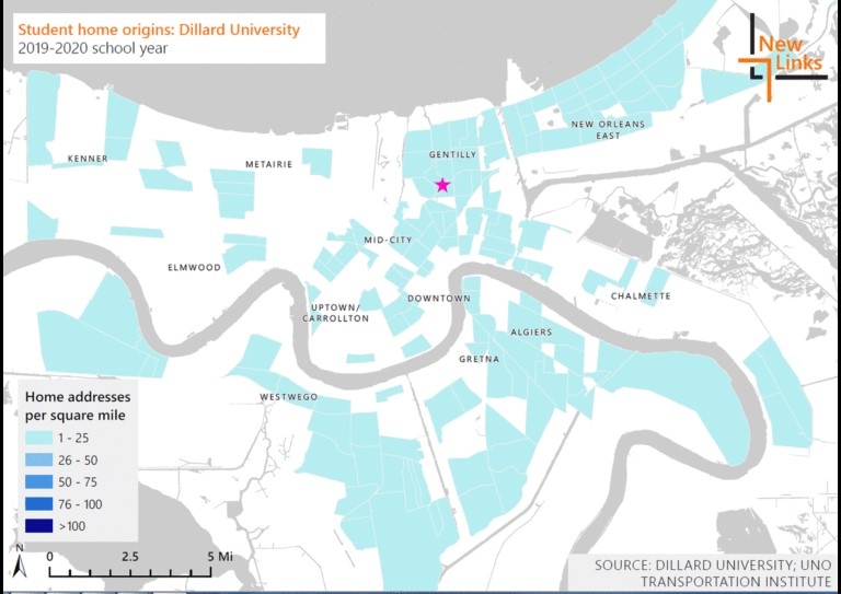 Density maps illustrate where students at Delgado Community College, Dillard University and University of New Orleans students reside.