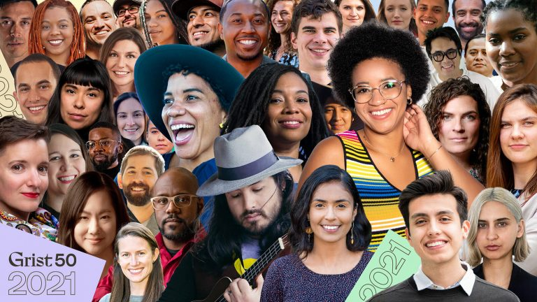 "This image features the 2021 ""Grist 50."" including emerging leaders in climate, sustainability, and equity who are creating change across the nation."