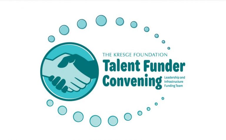 An illustration of a handshake with the text: The Kresge Foundation Talent Funder Convening Leadership and Infrastructure Funding Team