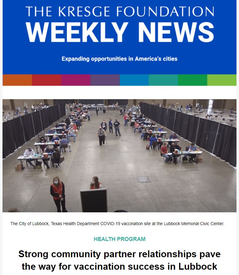 Blue graphic with the text: The Kresge Foundation Weekly News. Expanding opportunities in America's cities.