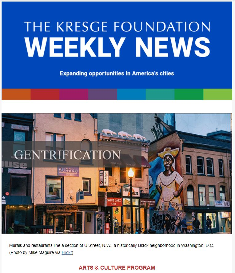 Blue graphic with the text: The Kresge Foundation Weekly News. Expanding opportunities in America's cities. Below is a pink colored graphic with a flower and the words Celebrating Asian American and Pacific Islander Heritage Month.