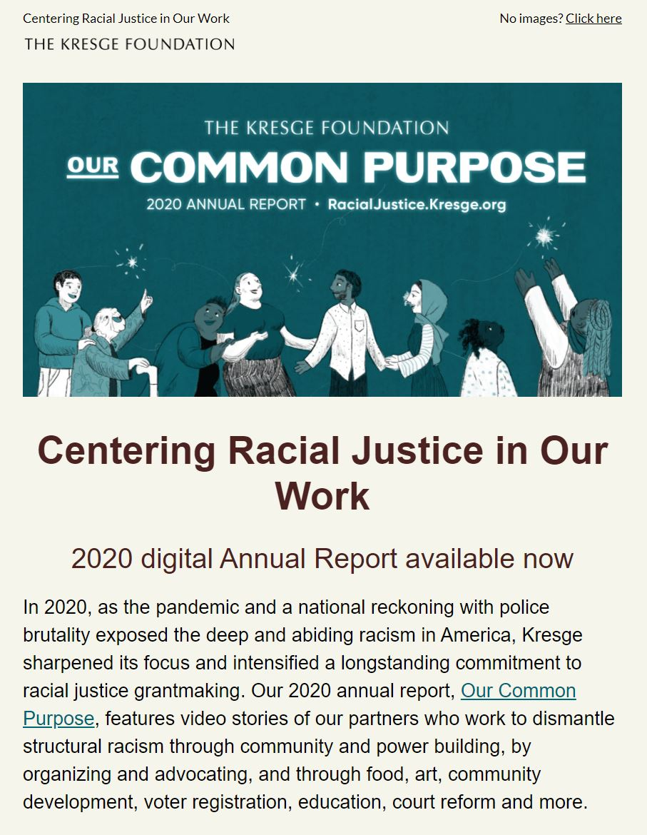 Illustrated graphic for Kresge's annual report with an illustrated group of diverse people reaching for and observing burst of light. The text reads The Kresge Foundation, Our COmmon Purpose, 2020 annural report, RacialJustice.Kresge.org