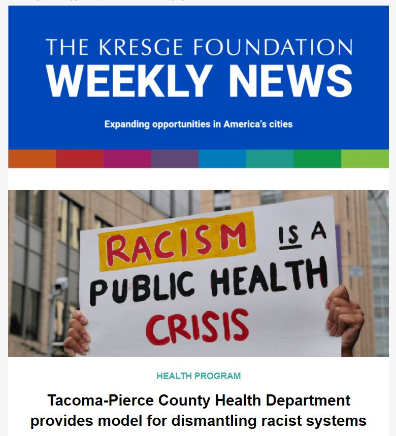 Blue banner that says The Kresge Foundation Weekly News: Expanding opportunities in America's cities