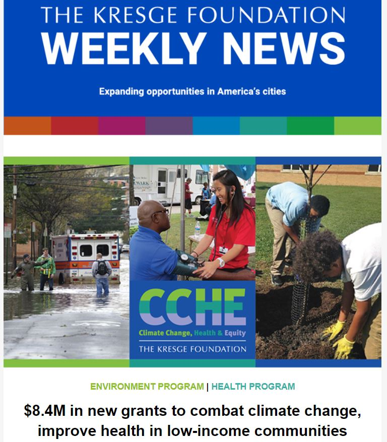 Blue graphic with the text: The Kresge Foundation Weekly News. Expanding opportunities in America's cities