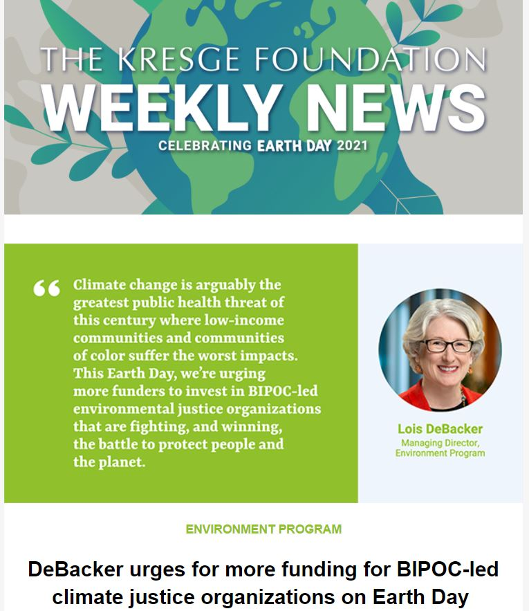 Grey background with an illustration of the Earth with the text: The Kresge Foundation Weekly News. Celebrating Earth Day 2021